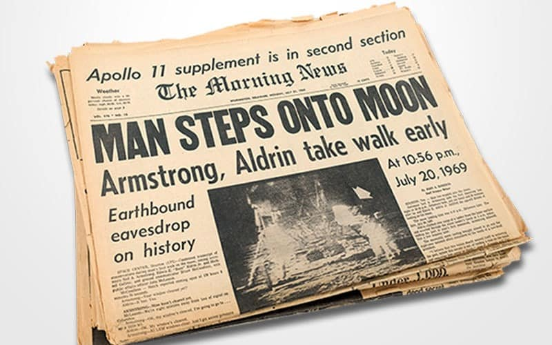 Man Steps Onto Moon