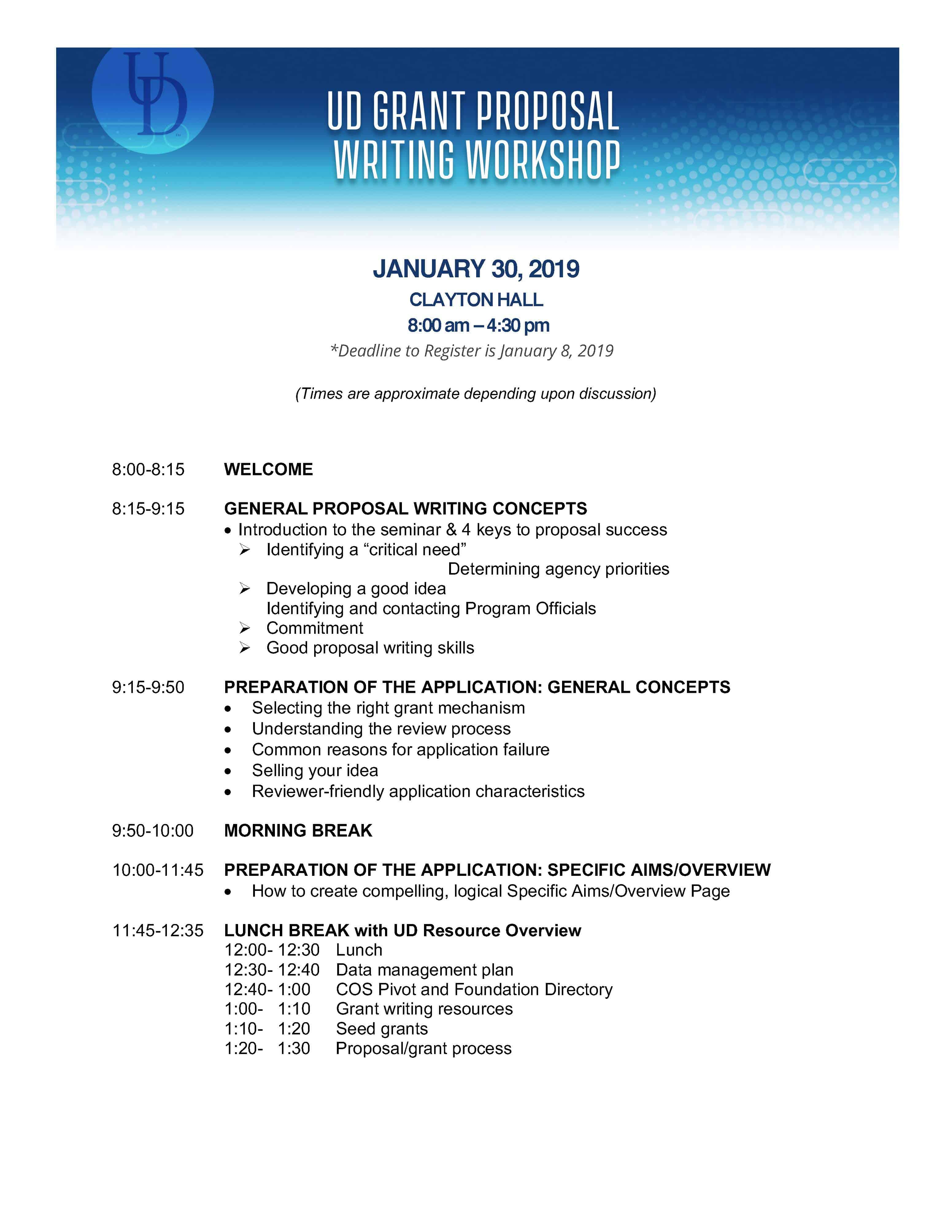 UD Grant Proposal Writing Workshop | University of Delaware