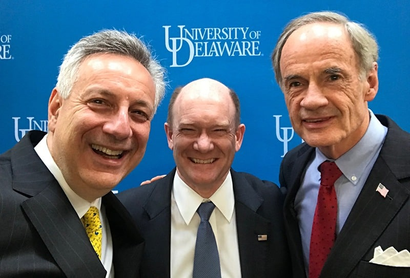 Dennis Assanis, Chris Coons, Tom Carper at UD Day in DC
