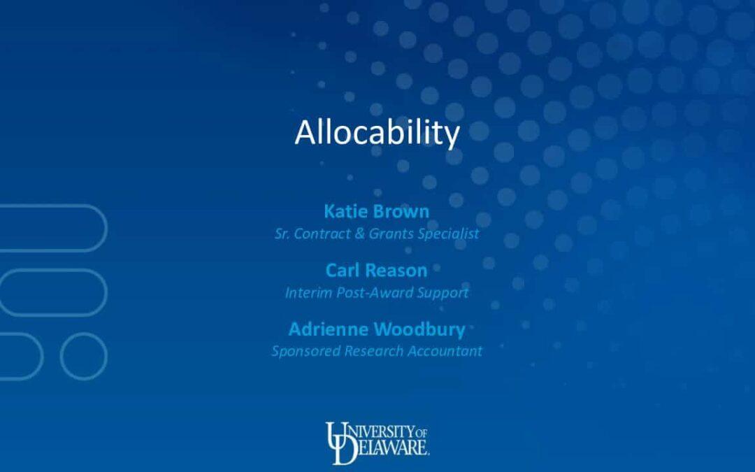RA Allocabiliity – Final Draft V2