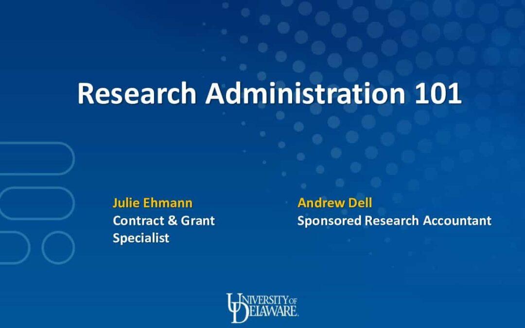 Research Admin 101