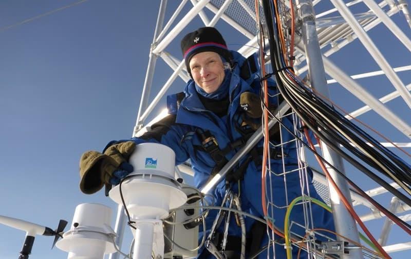 Dana Veron checks on equipment in Antarctica
