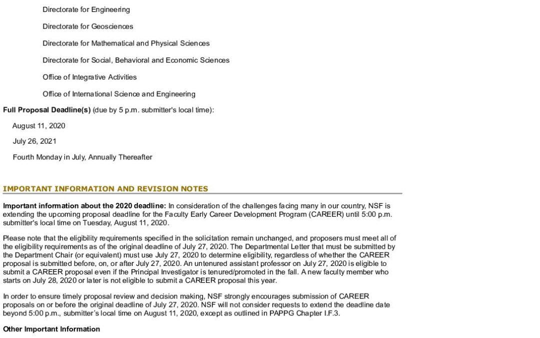 NSF CAREER Solicitation-2021